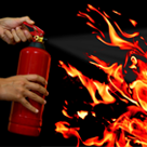 extinguisher and flames shrunk