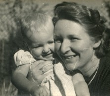 fifties mother and baby